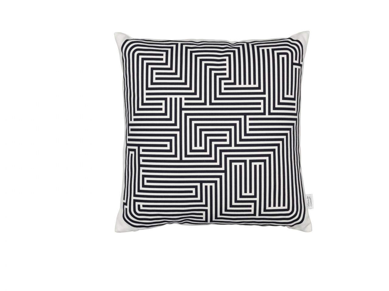 Graphic Print Pillows: Maze, black