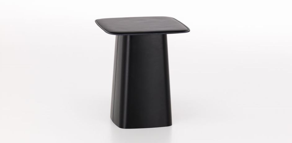 Leather Side Table mittel: nero